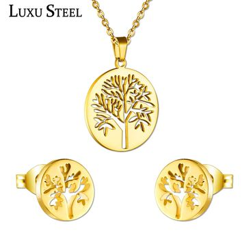 LUXUSTEEL Ladies Jewellery Sets Stainless Steel Gold/Silver Color Tree Pendant Necklace Earring Fashion Chain Jewelry Gift