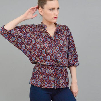 Vintage 70s Rustic Ethnic Print Top Blouson Batwing Sleeve Peplum Drawstring Waist Boho Hippie Blouse Brown Blue Gold Small Medium S M