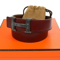 Auth HERMES Vintage H Touareg Buckle Constance Reversible Belt Red #65 A35941b