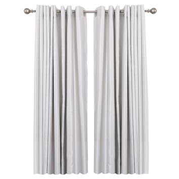 """Curtain Rod with Round Finials, Adjustable Length 28-48"""", Satin Nickel"""