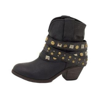 ICIKAB3 Corral Black Studded Wrap Ankle Boots P5021