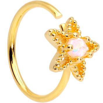 "20 Gauge 5/16"" White Faux Opal Gold Tone Star Seamless Circular Ring"
