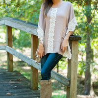 Lace Run Blouse, Light Mocha