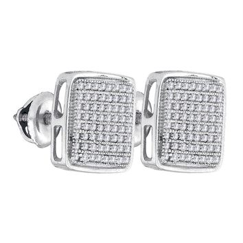 Sterling Silver Mens Round Diamond Square Cluster Stud Earrings 3-8 Cttw - FREE Shipping (US/CAN)