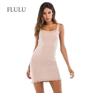 FLULU Vintage Summer Dress Women 2018 Silm Off Shoulder Bodycon Tight Knitted Dress Elegant Solid Female Party Dresses Vestidos