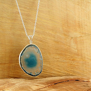 Sliced agate necklace Sterling silver bezel blue agate slice Long boho necklace Blue sliced geode necklace by Freesize