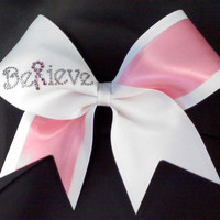 Yella Ribbon Rhinestone cheer bows | BELIEVE