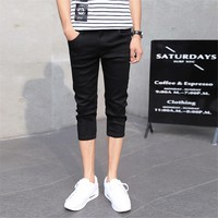 Men's Slim Fitted Capri Jeans Casual Straight Stretch Pencil Calf Length Jeans Skinny Tapered Feet Pants Black for Men 27-36