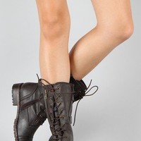 Lug-12 Buckle Lace Up Military Boot