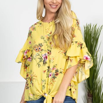 Sunny Yellow Floral Knot Top