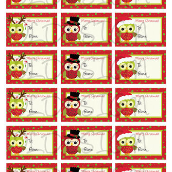 Christmas stickers. Christmas cupcake topper. Christmas tags, stickers, labels, envelope seals. Digital file.
