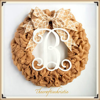 Front Door Wreaths-Spring Wreath-Monogram Wreath-Burlap Wreaths-Burlap Front Door Wreath-Shabby Chic Burlap Wreath-Spring Burlap Wreath