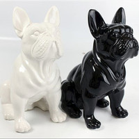 Statue of french bulldog, WHITE ceramic, for decoration or collection