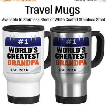 Travel Mug, Worlds Greatest Grandpa Calendar Note Going To Be A Grandpa Baby Announcement Baby Reveal, Gift Idea, Stainless Steel 14 oz