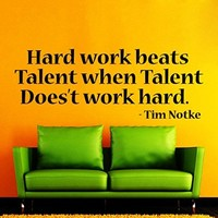 Wall Decals Quote Hard Work Beats Talent Decal Vinyl Sticker Home Decor Bedroom Interior Window Decals Living Room Art Murals