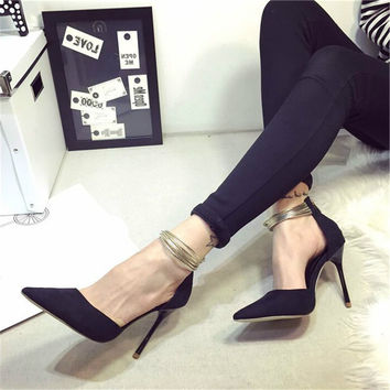 Korean Pointed Toe Temperament Summer Strappy Kitten Sexy High Heels Mary Jane Fashion Genuine Leather Womens Pumps