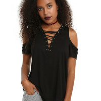 Black Lace-Up Girls Cold Shoulder Top