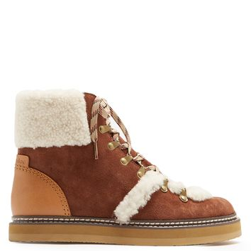 Aileen shearling-trimmed suede ankle boots | See By Chloé | MATCHESFASHION.COM US