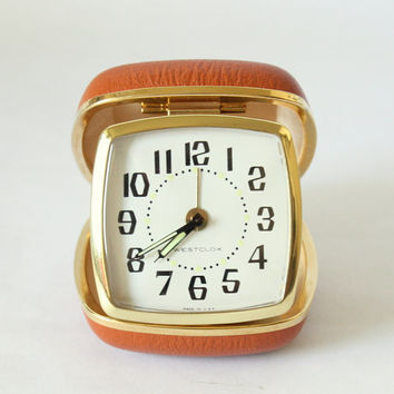 Vintage Westclox Travel Alarm Clock Model 42028 In Folding Brown/Burned Orange Hard Case