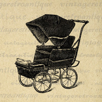 Digital Image Antique Baby Carriage Graphic Illustration Printable Download Vintage Clip Art for Transfers etc HQ 300dpi No.1084
