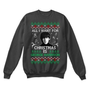 PEAPINY All I Want For Christmas Is George Harrison The Beatles Ugly Sweater