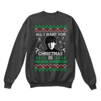 DCCKON7 All I Want For Christmas Is George Harrison The Beatles Ugly Sweater