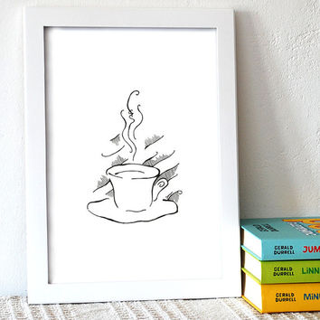 Coffee illustration. Black and white line art for kitchen. Still life drawing. Hot cup of coffee art print.