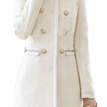 Smeiling Womens Warm Faux Fur Collar Thick Long Sleeve Overcoat Peacoat
