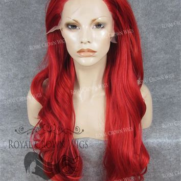 """26"""" Heat Safe Synthetic Lace Front """"Constance"""" with Curly Texture in Red"""