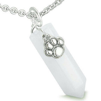 Amulet Lucky Wolf Paw Crystal Point Charm White Jade Gemstone Good Luck and Prot