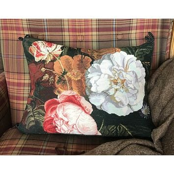 Dutch Masters Peony Parrot Tulip Peony Floral Needlepoint Petit Point Red Sienna Pink Green Brown Pillow Cover