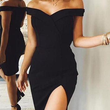 Black Bandeau Cut Out Off Shoulder Homecoming Party Bodycon Fashion Midi Dress
