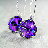 Iris Purple Earrings Sterling Silver Swarovski Plum Violet Crystal Earrings Blue Royal Indigo Purple Dangle Earrings