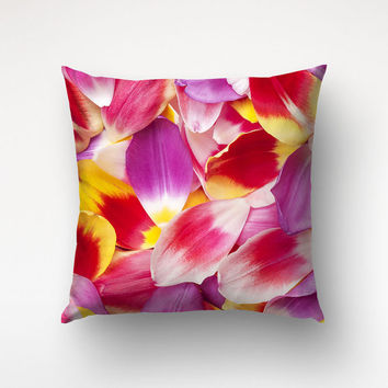 Throw Pillow Tulip Petals, Floral Photography, Flower Cover, Pink Decor