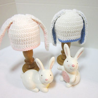 Bunny Baby Hat, Twins or Triplets Crochet Baby Rabbit Caps, MADE TO ORDER by Charlene, Photo Prop, Twins or Triplets, Easter Hat