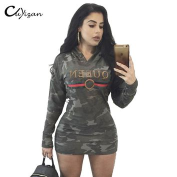 YDLIQI 2018 Autumn Hooded pencil big size Dresses Long Sleeved Casual bodycon Mini Dress Sportwear Women camouflage Clothings