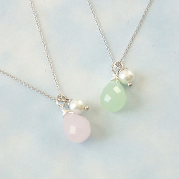 Pink Opal & Green Opal  with Pearl Necklace, Bridesmaid Gift, Friendship Necklace.
