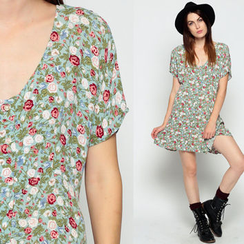 Floral GRUNGE Dress 90s Mini BABYDOLL Dress 80s Vintage Skater Rink Empire Waist PEARL Button Up Short Sleeve MiniDress Green large