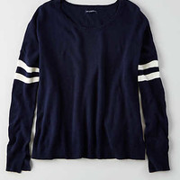 AEO Striped Easy Sweater, Navy