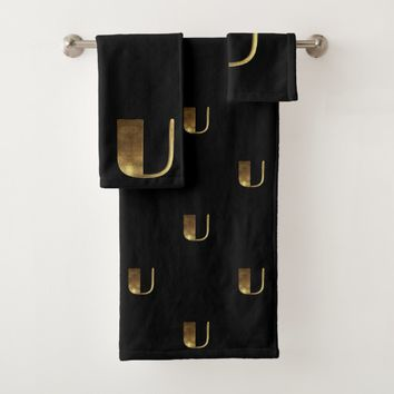 Monogram U Black and Gold Look Elegant Typography Bath Towel Set