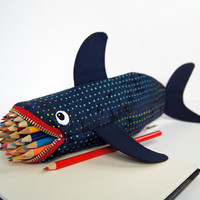 Shark Bag Pencil Case Pencil Pouch - Fun Zipper Pouch - Awesome Boys Gift: Rainbow Leopard Shark Bite, (almost) ready to ship