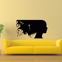 Wall Decal Vinyl Sticker Beauty Girl Hair Salon Spa Decor Sb482