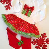 Holiday dress with leggings, Christmas Dress for Girls, Baby Christmas Outfit