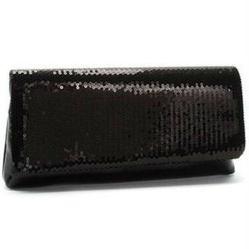 La Regale Metallic Satin Flap Clutch