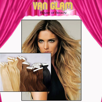 """Soft Subtle Ombre Tape In 100% Remy Human Hair Extensions 24"""""""