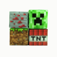 Soap Set Minecraft Inspired Set of 4 Creeper Dirt Block TNT Block Redstone Block