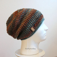 Crochet Slouch Hat Brown Beanie, Mens Beanie, Womens Hat, Blue and Brown Slouchy, Tweed, Striped, Trendy Slouchy Beanie, Mens Slouch Beanie