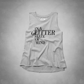 glitter state of mind graphic muscle tee