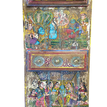 Antique Doors Hindu God Hand Painted Barn Door Brass Fitted Indian Furniture