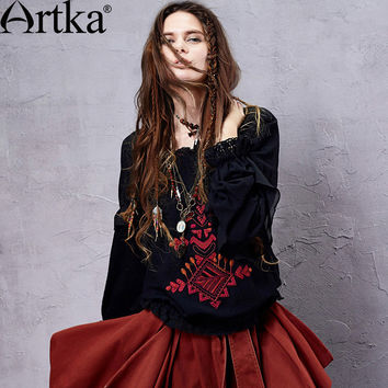 Artka Women's Spring Retro Ethnic Bohemian Embroidery Frilled Collar Elastic Cinched Waist Long Sleeve Shirt SA14151C